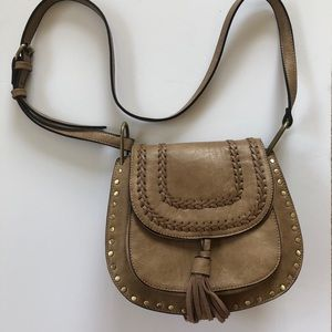 Vegan leather crossbody bag with gold hardware
